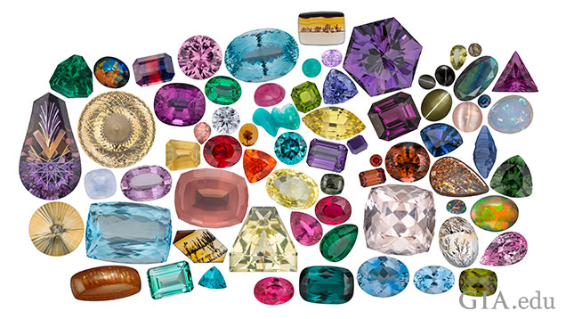 A representative selection of gems, colors and cutting styles from GIA Collection.