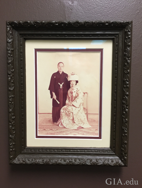 Framed photo of man and woman wearing kimonos