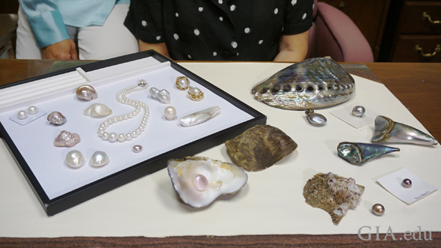 Pearls, shells, and jewelry on table