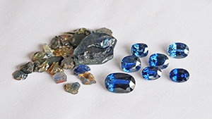 Rough and cut sapphires