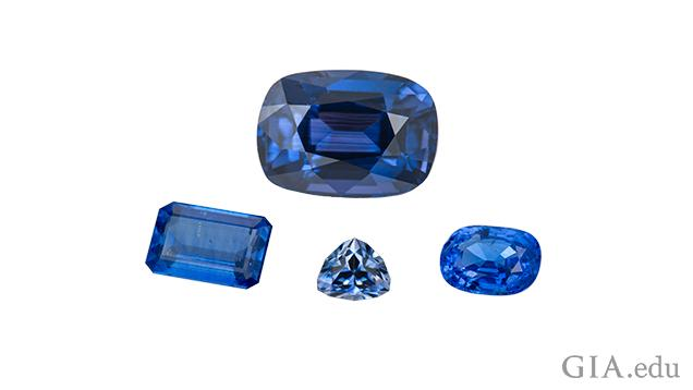 A group of four blue gems.