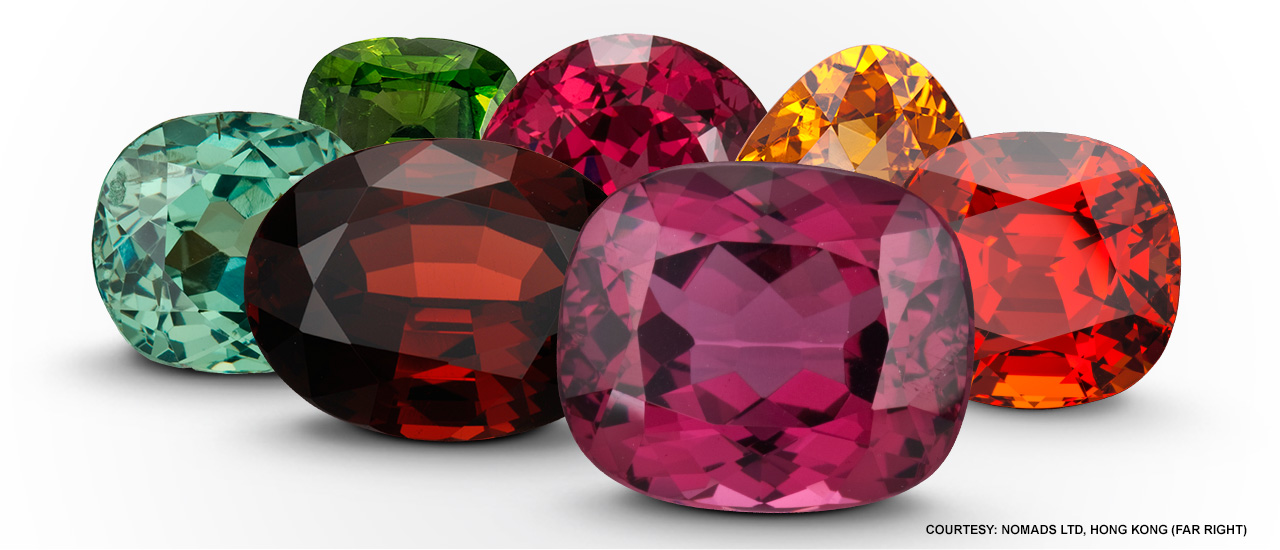 January's birthstone occurs in a wide range of colors, as shown by these faceted stones.