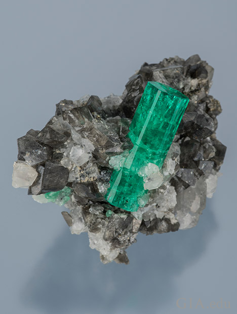 Emerald Crystal in Calcite