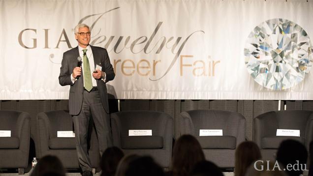 Image of GIA Governor Elliot Tannenbaum speaking at the Jewelry Career Fair