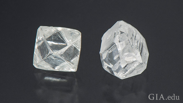 A natural rough diamond and HPHT rough diamond side-by-side.