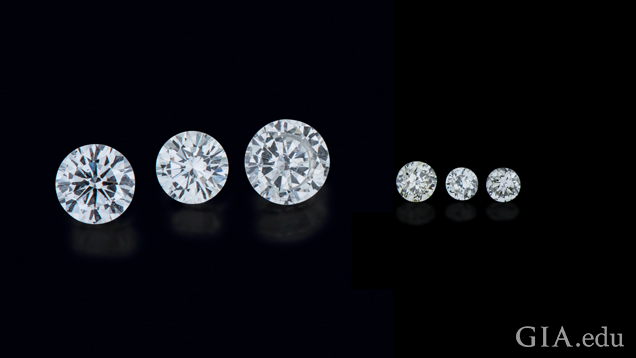 A variety of large, commercial and melee cut man-made gemstones are available in the market. These HPHT diamonds, from left, are 0.41 ct, 0.31 ct and 0.50 ct. and three melee-sized stones.