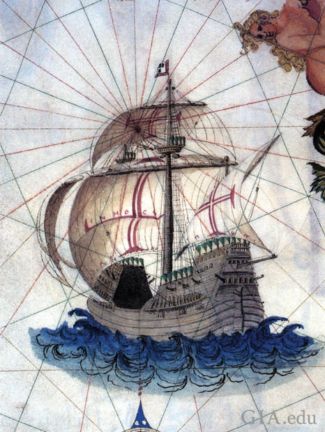 Drawing of ancient ship with a map grid in the background.