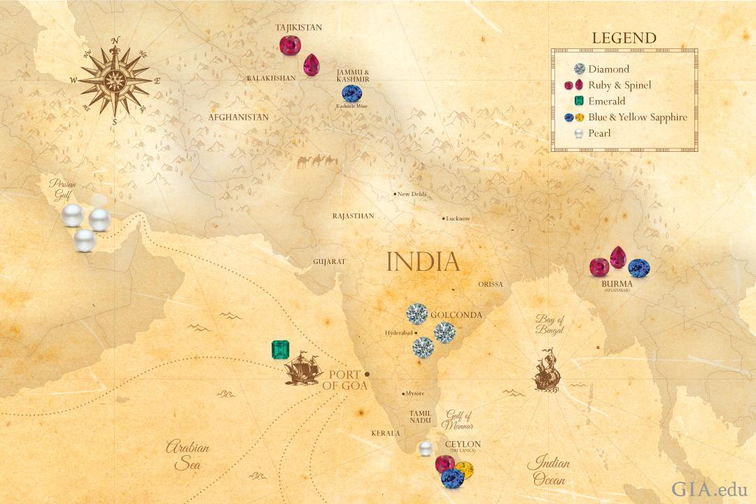 A map of India and surrounding countries showing the origin of many of the gems that were used in the Indian jewelry shown in this article including diamonds, rubies, emeralds, pearls and sapphires