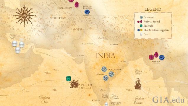 インドとその周辺の国々の地図。ダイヤモンド、ルビー、エメラルド、真珠、サファイアなど、この記事で取り上げられたインドのジュエリーで使用された数多くの宝石の起源を示している。