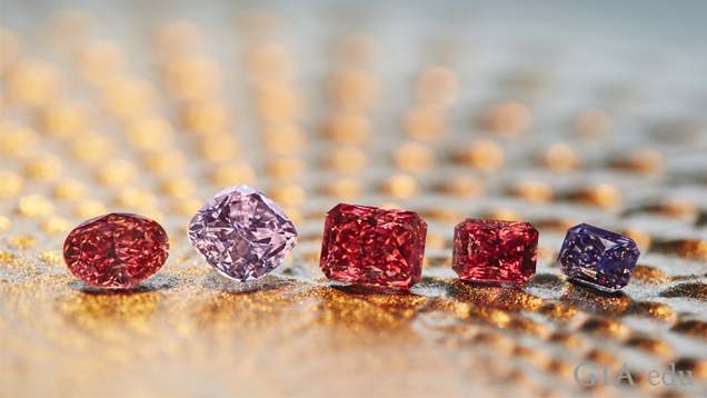 The Argyle Pink Diamonds in a row: oval shaped Fancy Deep pink, cushion cut Fancy purple pink, cushion cut Fancy Red, radiant shaped Fancy red and radiant shaped Fancy Deep gray violet.