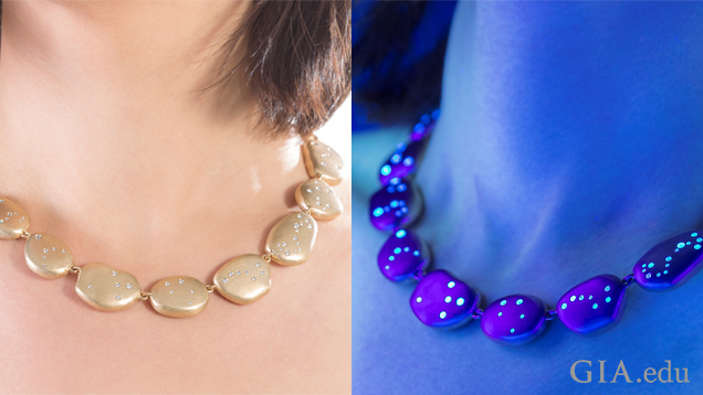 "Woman wears a strand of oval-shaped 18K gold ""stones"" that are inlaid with diamonds. In the left photo the diamonds look normal. In the right photo they are glowing."