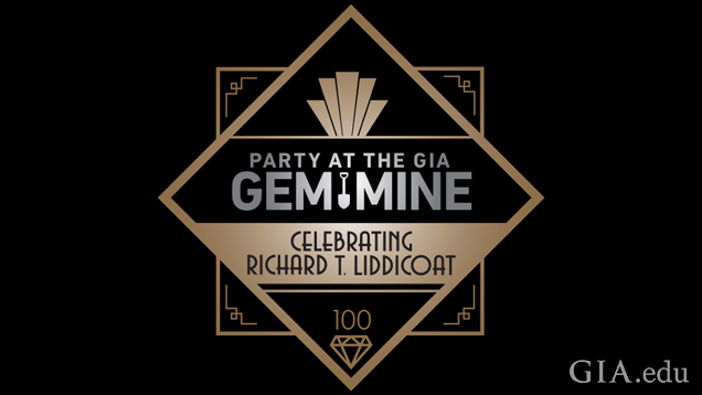 "Art Noveau style logo with the words ""Party at the GIA Gem Mine – Celebrating Richard T. Liddicoat"" in the center."