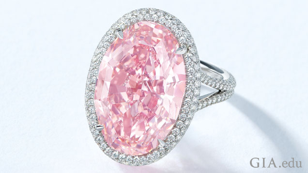 A 14.93 ct oval pink diamond is surrounded by a halo of colorless diamonds and mounted into a ring.