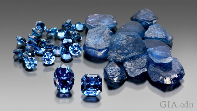 A group of rough and cut sapphires.
