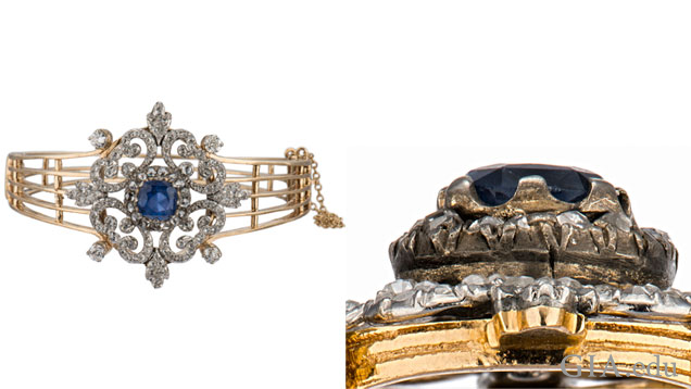 A top view and side view of an antique bracelet.