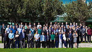 A large group of people outside on GIA's Carlsbad, California  campus.