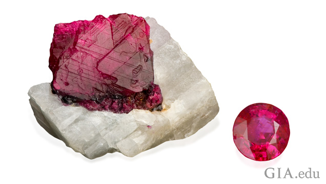 A ruby in white matrix material, left, and a cut and polished ruby.