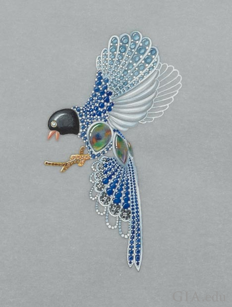 An illustration of a bejeweled bird pendant.