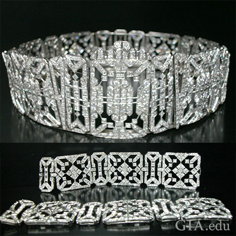 The top photo shows the crown intact and the bottom photos shows the bracelet sections.