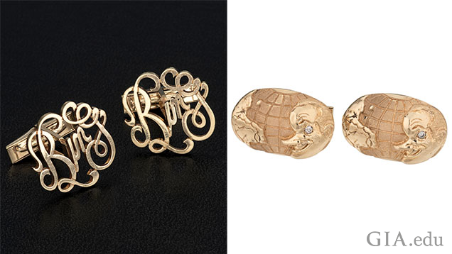 "Left: ""Bing"" in scroll writing. Right: Cufflinks with Bob Hope's profile."