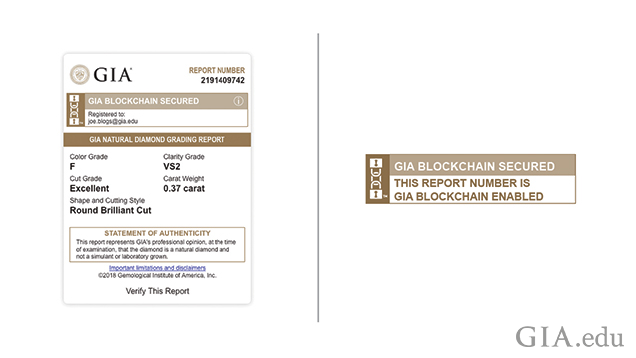 Images of the blockchain diamond grading report information.