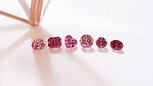 6つの異なる形の赤とピンクのダイヤモンドが並んでいます。