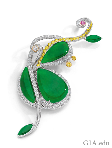 Brooch is styled as a cello, with the body in green jadeite and framed by yellow and colourless diamonds.