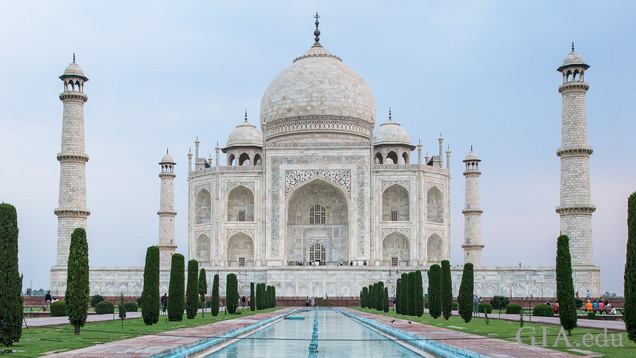 Taj Mahal front with reflecting pools