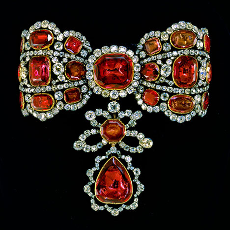 Diamond and Red Spinel Bow Brooch