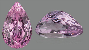 Kunzite top and side view