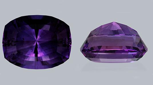 アメシスト(紫水晶)上部と側面図