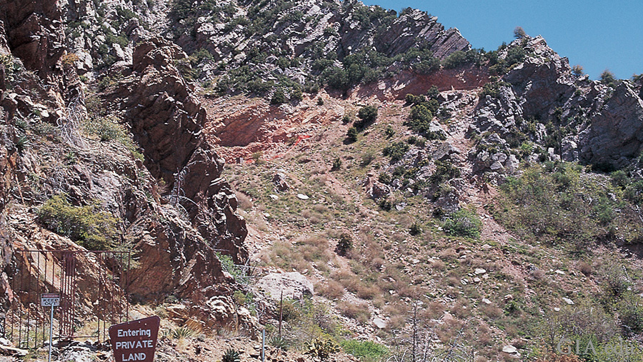 Landscape of rocky hills at the Four Peaks amethyst mine in Phoenix, Arizona, where the February birthstone can be found.