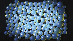 Blue amber beads from the Dominican Republic