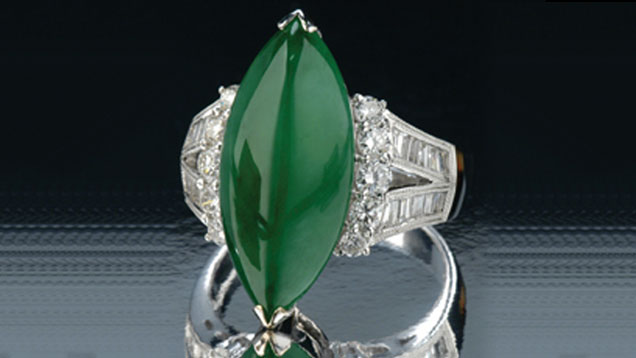 Marquise-shaped Jade Ring
