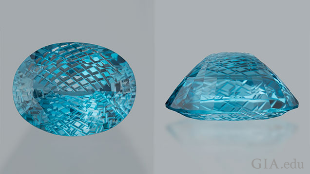 The oval blue topaz