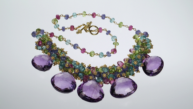 Birthstones exhibit amethyst necklace