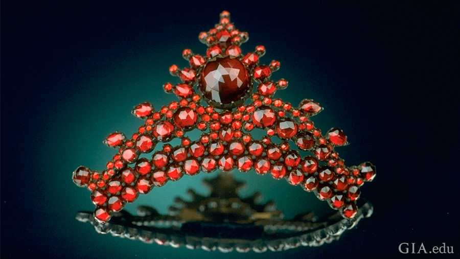 Antique pyrope garnet hair comb from the National Gem Collection at the Smithsonian Institution features the January birthstone.
