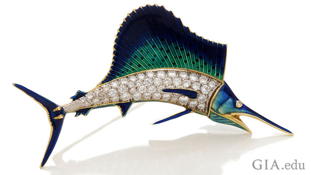 The sailfish body is made from diamonds and the rest from blue, green and black enamel accented with yellow.