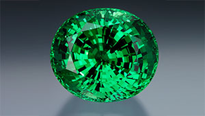 The superior size and color of the 325.13 ct. tsavorite garnet from Merelani was discovered at the Tucson Gem & Mineral show in 2007. Courtesy of Michael Couch & Associates, West Des Moines, Iowa; photo by Robert Weldon © GIA