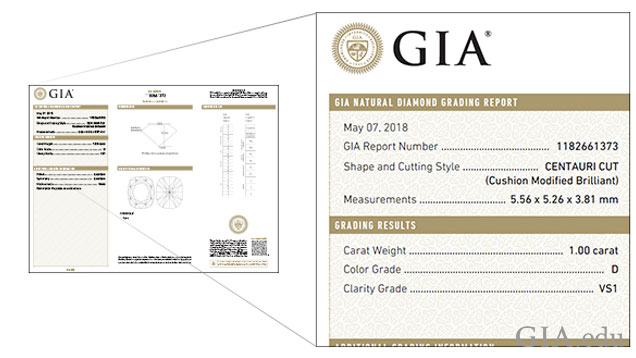 An example of a diamond grading report that has a branded cut name on the report.