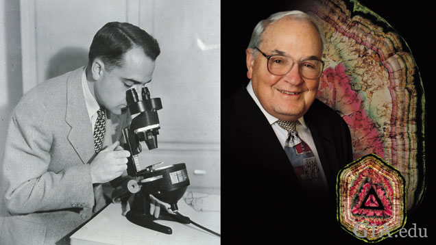 Richard T. Liddicoat, the man who changed the gem and jewelry industry forever, is pictured to the left sitting with a DiamondScope and to the right with liddicoatite - a species of tourmaline named after him in 1977.