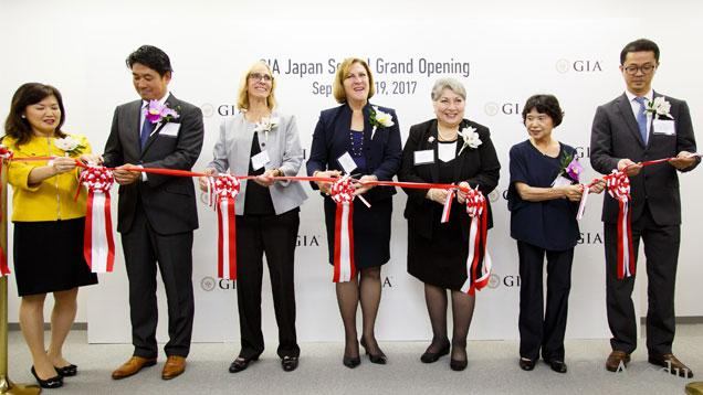 Seven prominent GIA staff cut the ribbon at the opening of GIA campus in Tokyo