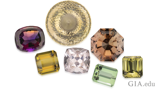 Seven gems of different colors that will be displayed at the 2019 TGMS.