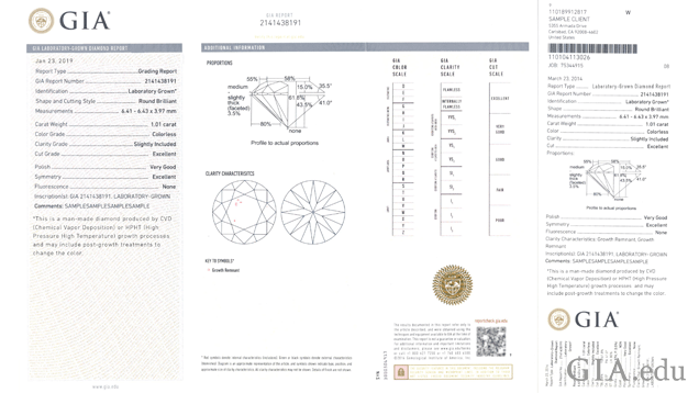 Sample of the information displayed on a GIA Laboratory-Grown Diamond Report.