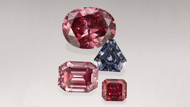 Rare pink and violet diamonds