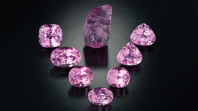 Kunzite Crystal and Faceted Stones
