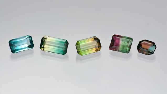 Assorted colors of cut tourmalines from the Dr. Eduard J. Gubelin Collection