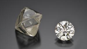 Rough and polished diamond