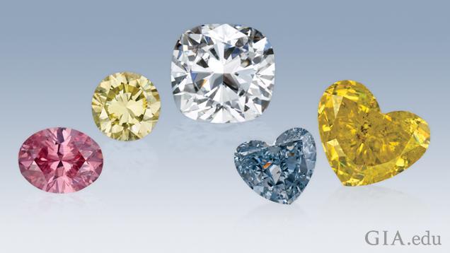 分别为圆形粉红色钻石、圆形黄钻、垫型切工无色钻石、心形蓝钻和心形黄钻。