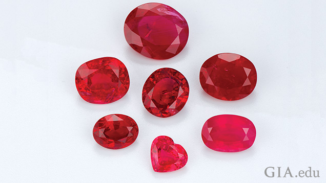 A group of seven rubies.